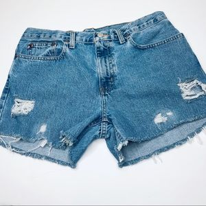 Ralph Lauren Distressed Cutoff Blue Jean Shorts 10